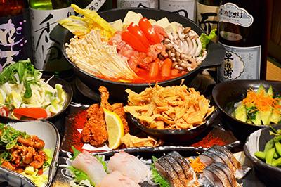 真っ赤な地獄炊き鶏のトマト鍋コース お一人様3,500円(税込)